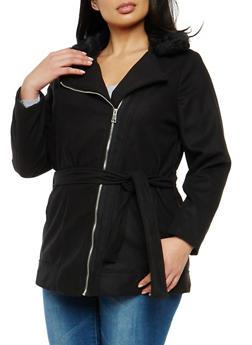 Plus Size Wool Faux Fur Collar Coat - 3885051069511