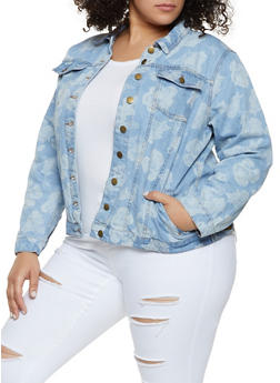 Plus Size Rose Print Jean Jacket - 3886038340102