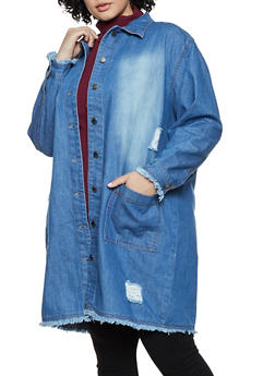Plus Size Button Front Frayed Long Denim Jacket - 3886038340110