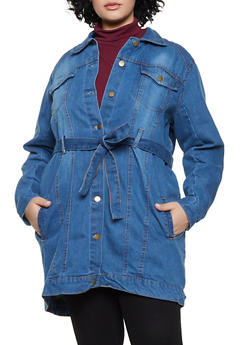 Plus Size Tie Waist Long Denim Jacket - 3886038340111