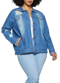 Plus Size Button Front Frayed Jean Jacket - 3886038340112