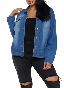 Plus Size Basic Denim Jacket - 3886038341010