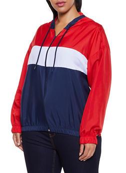 Plus Size Color Block Zip Up Windbreaker - 3886038344504
