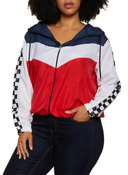 Plus Size Checkered Trim Color Block Windbreaker - 3886038344505