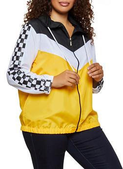 Plus Size Checkered Trim Color Block Windbreaker - 3886038344505