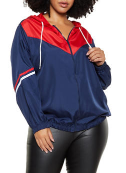Plus Size Color Block Zip Front Windbreaker - 3886038344506