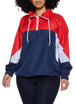 Plus Size Zip Neck Color Block Windbreaker - 3886038344508