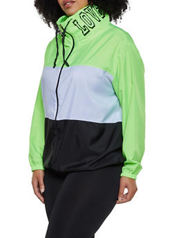 Plus Size Love Color Block Windbreaker - 3886038344509