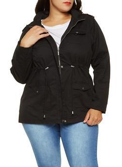 Plus Size Hooded Anorak Jacket - BLACK - 3886051061091