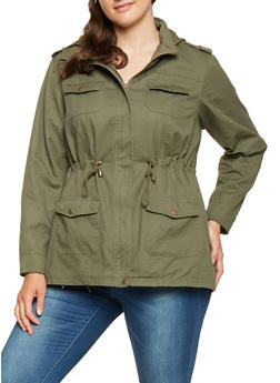 Plus Size Hooded Anorak Jacket - 3886051061091