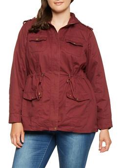 Plus Size Hooded Anorak Jacket - WINE - 3886051061091