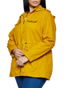Plus Size Solid Hooded Twill Anorak Jacket - 3886051061092