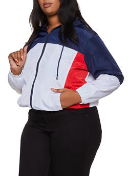 Plus Size Hooded Color Block Windbreaker - 3886051061330