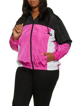 Plus Size Hooded Color Block Windbreaker - 3886051061330