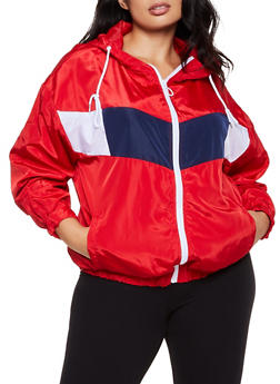 Plus Size Color Block Detail Windbreaker - 3886051061920