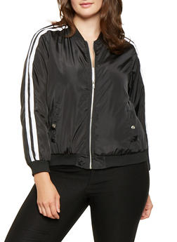 Plus Size Varsity Stripe Bomber Jacket - 3886051064410
