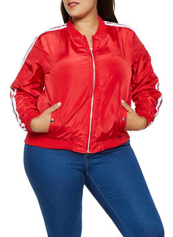 Plus Size Nylon Varsity Stripe Bomber Jacket - 3886051064412