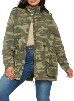 Plus Size Camo Anorak Jacket - 3886051064540