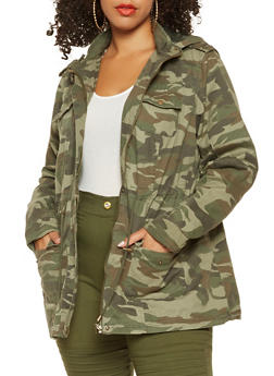 Plus Size Hooded Camo Anorak Jacket - 3886051064610