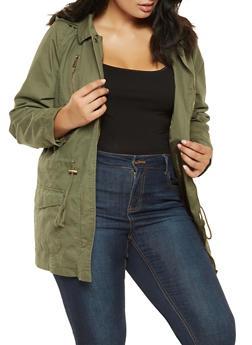 Plus Size Hooded Anorak Jacket - 3886051064962
