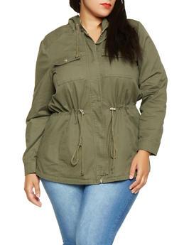 Plus Size Hooded Anorak Jacket - OLIVE - 3886051065373