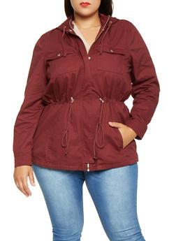Plus Size Hooded Anorak Jacket - 3886051065373