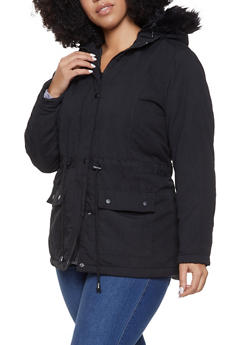 Plus Size Faux Fur Hooded Anorak Jacket - 3886051065809
