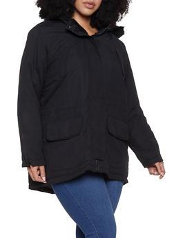 Plus Size Quilt Lined Parka - 3886051065839