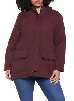 Plus Size Quilt Lined Parka - 3886051065839
