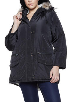 Plus Size Solid Sherpa Lined Parka - 3886051065865