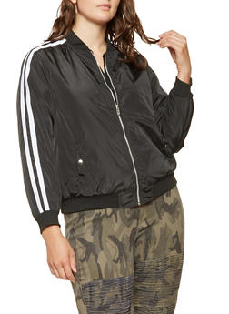 Plus Size Varsity Stripe Bomber Jacket - BLACK/WHITE - 3886051066441