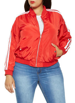 Plus Size Varsity Stripe Bomber Jacket - RED - 3886051066441