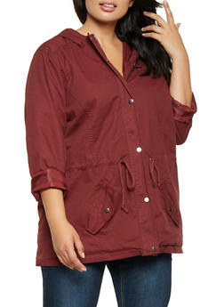 Plus Size Hooded Twill Anorak Jacket - 3886051066583