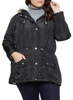 Plus Size Sherpa Lined Parka - 3886051066620