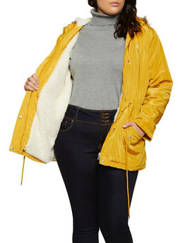 Plus Size Sherpa Lined Parka - 3886051066620