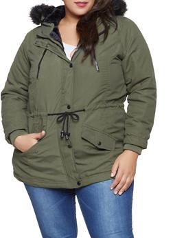 Plus Size Faux Fur Trim Anorak Jacket - 3886051066662