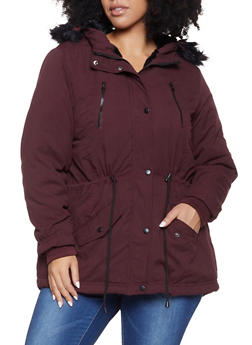 Plus Size Faux Fur Trim Anorak Jacket - 3886051066662