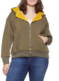 Plus Size Faux Fur Trim Sweatshirt - 3886051066928