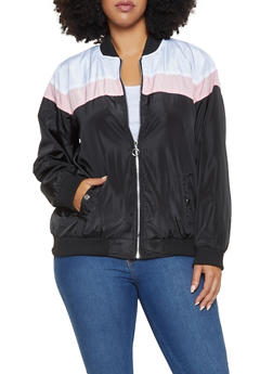 Plus Size Color Block Lightweight Bomber Jacket - 3886051066934