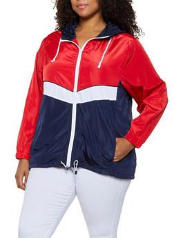 Plus Size Color Block Nylon Zip Windbreaker - 3886051067044