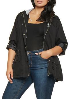 Plus Size Hooded Anorak Jacket - 3886051067050