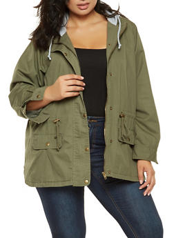 Plus Size Hooded Anorak Jacket - 3886051067050
