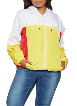Plus Size Color Block Windbreaker - 3886051067133