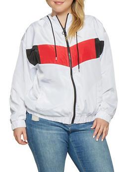 Plus Size Color Blocked Windbreaker - WHITE - 3886051067192