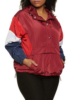 Plus Size Pullover Color Blocked Windbreaker - 3886051067228
