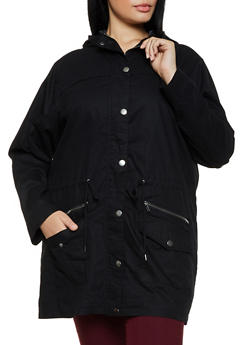 Plus Size Solid Twill Anorak Jacket - 3886051067261