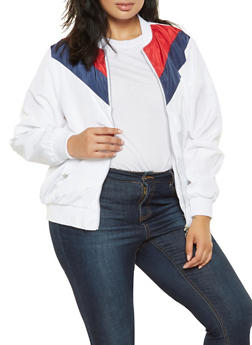 Plus Size Color Block Chevron Bomber Jacket - 3886051067277