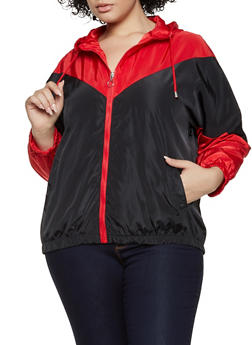Plus Size Color Block Nylon Windbreaker - 3886051067362