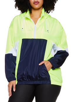 Plus Size Zip Neck Hooded Windbreaker Jacket - 3886051067542