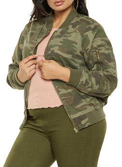 Plus Size Camo Bomber Jacket - 3886051067630